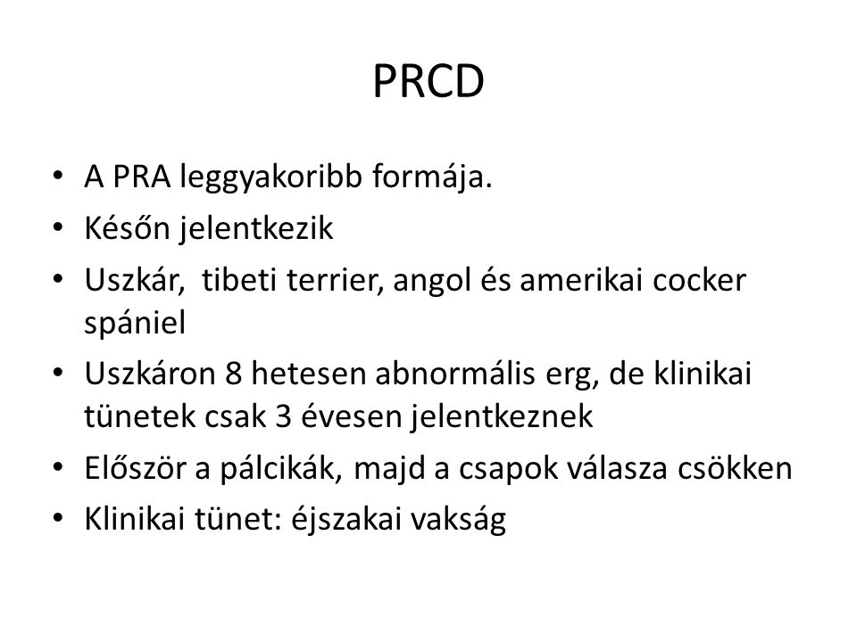 PRCD A PRA leggyakoribb formája. Későn jelentkezik