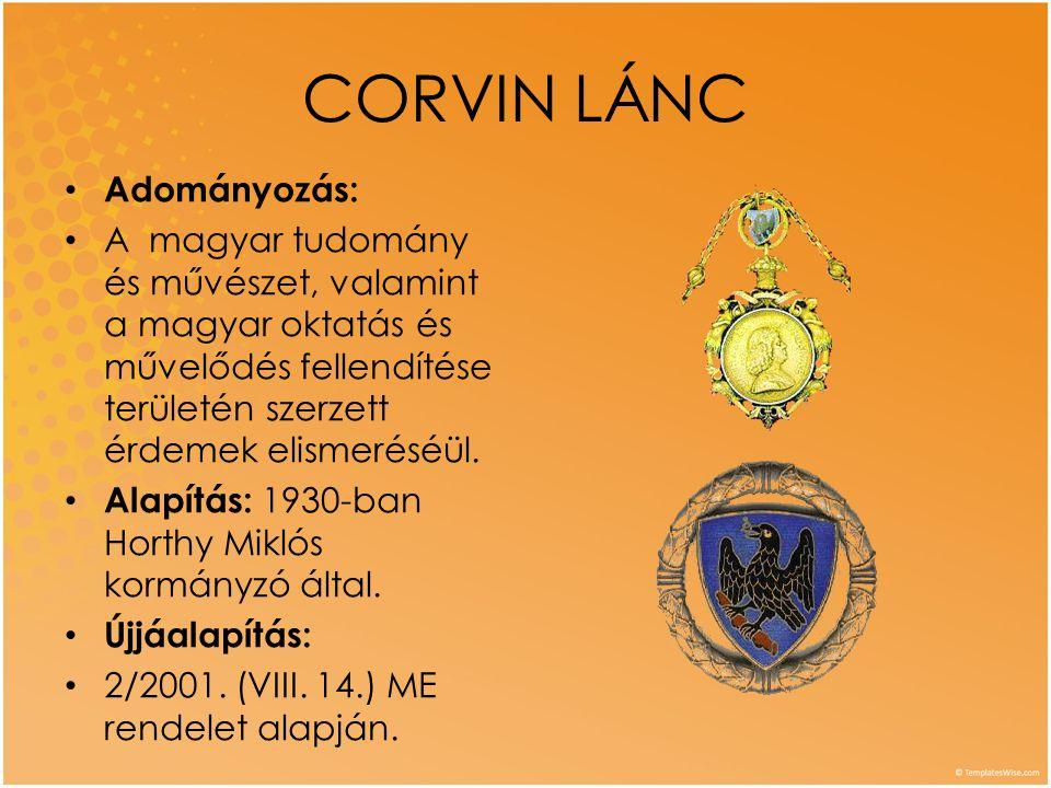 CORVIN LÁNC Adományozás: