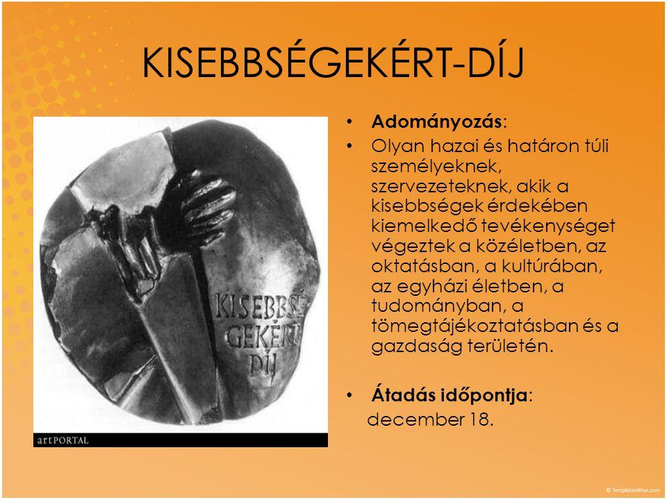 KISEBBSÉGEKÉRT-DÍJ Adományozás: