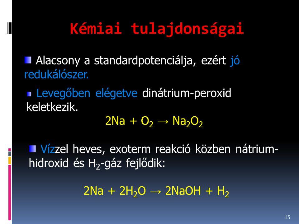 Kémiai tulajdonságai Alacsony a standardpotenciálja, ezért jó redukálószer. Levegőben elégetve dinátrium-peroxid keletkezik.