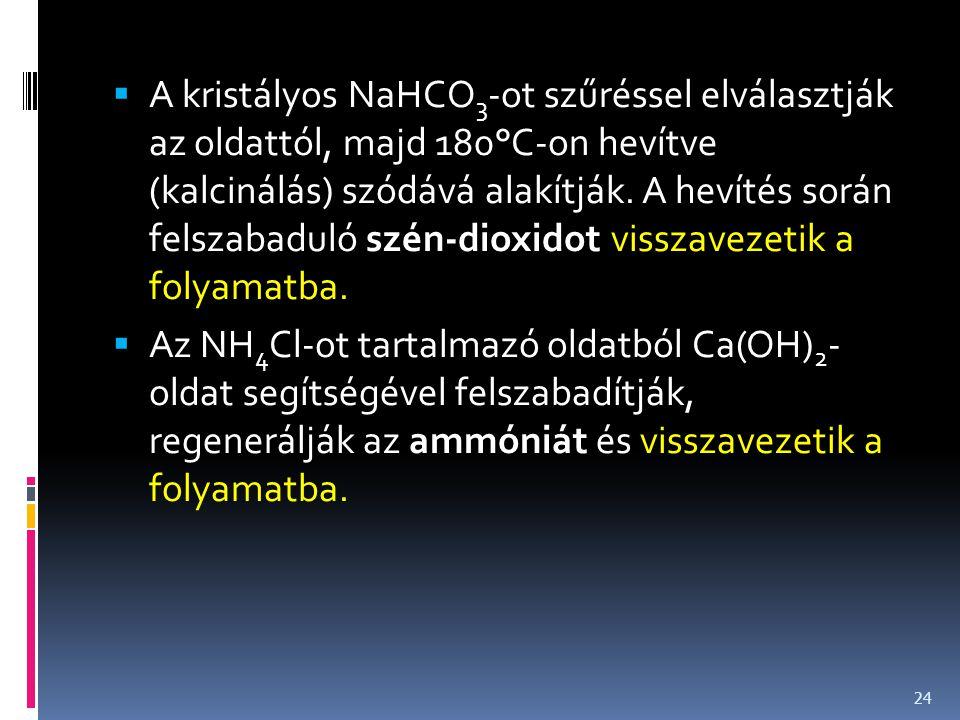 A kristályos NaHCO3-ot szűréssel elválasztják az oldattól, majd 180°C-on hevítve (kalcinálás) szódává alakítják. A hevítés során felszabaduló szén-dioxidot visszavezetik a folyamatba.