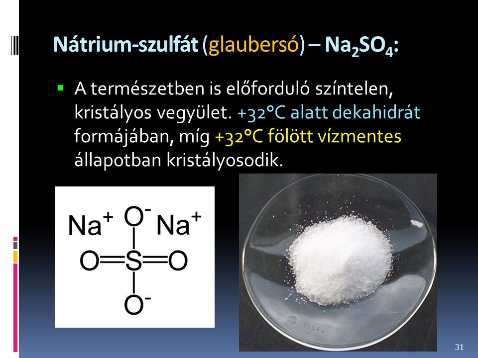 Nátrium-szulfát (glaubersó) – Na2SO4: