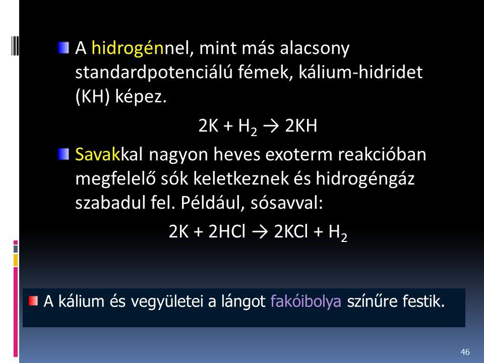 A hidrogénnel, mint más alacsony standardpotenciálú fémek, kálium-hidridet (KH) képez.