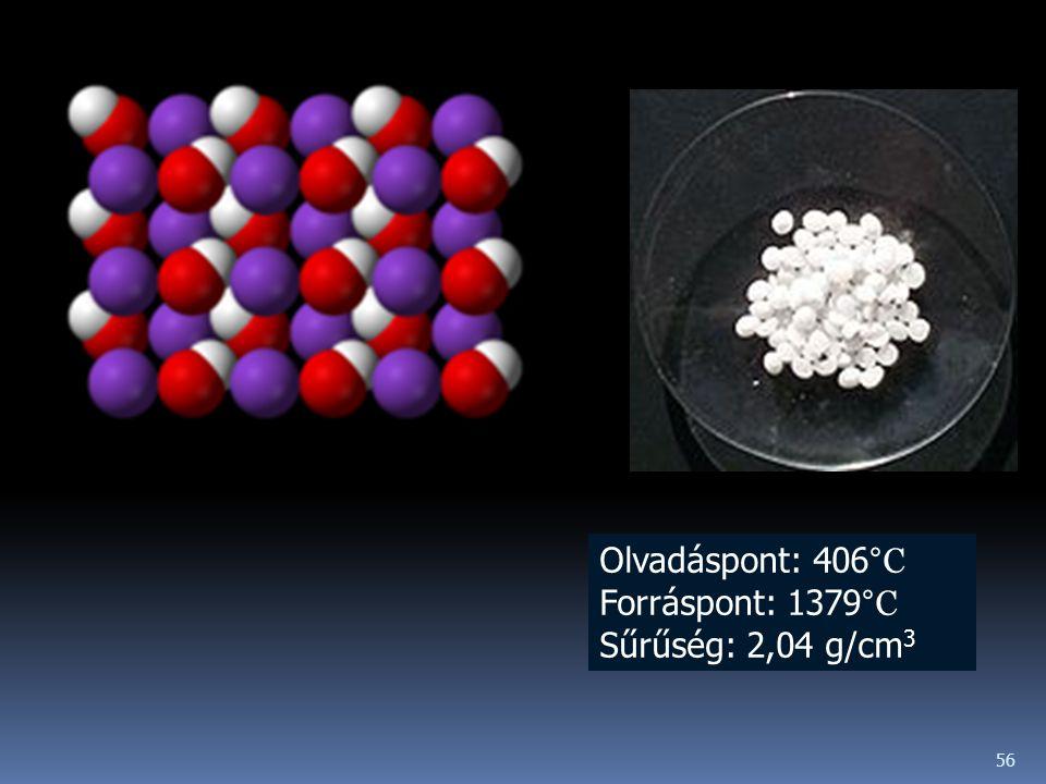Olvadáspont: 406°C Forráspont: 1379°C Sűrűség: 2,04 g/cm3
