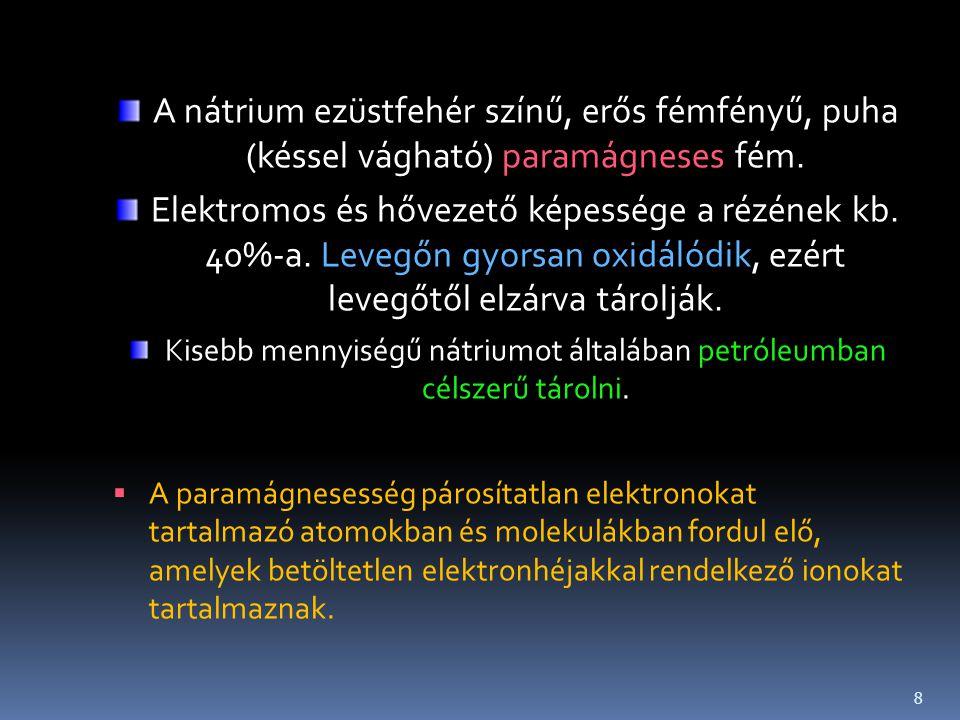 Kisebb mennyiségű nátriumot általában petróleumban célszerű tárolni.