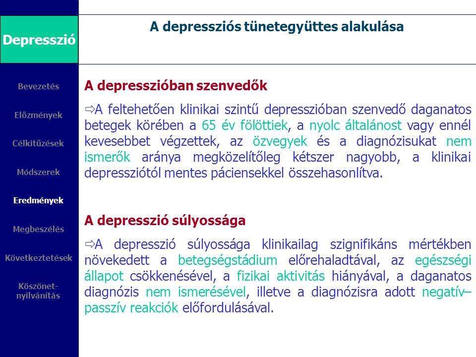A depressziós tünetegyüttes alakulása