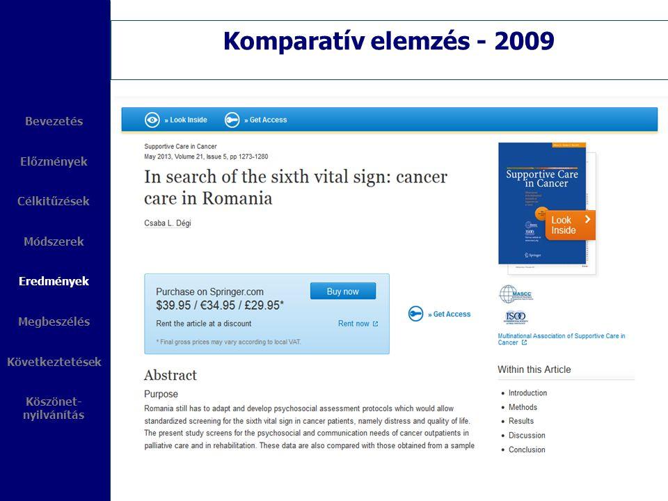 Komparatív elemzés - 2009 Bevezetés Előzmények Célkitűzések Módszerek