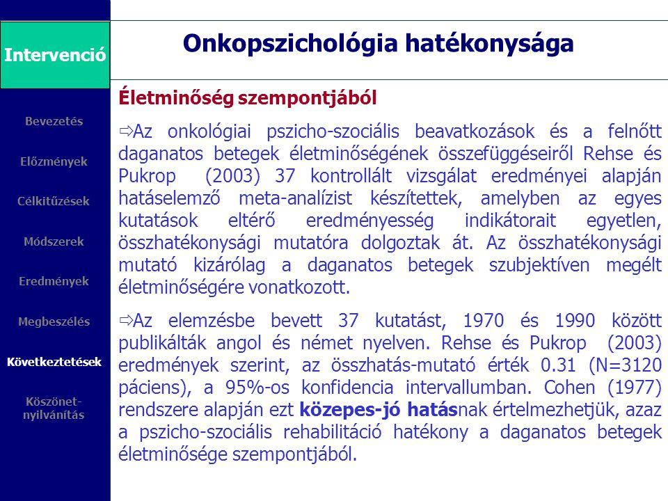 Onkopszichológia hatékonysága