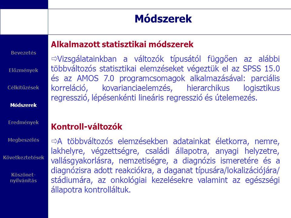 Módszerek Alkalmazott statisztikai módszerek
