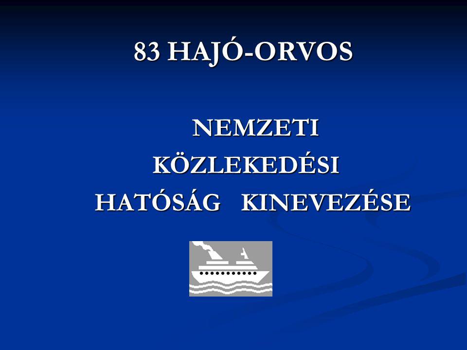 83 HAJÓ-ORVOS NEMZETI KÖZLEKEDÉSI HATÓSÁG KINEVEZÉSE