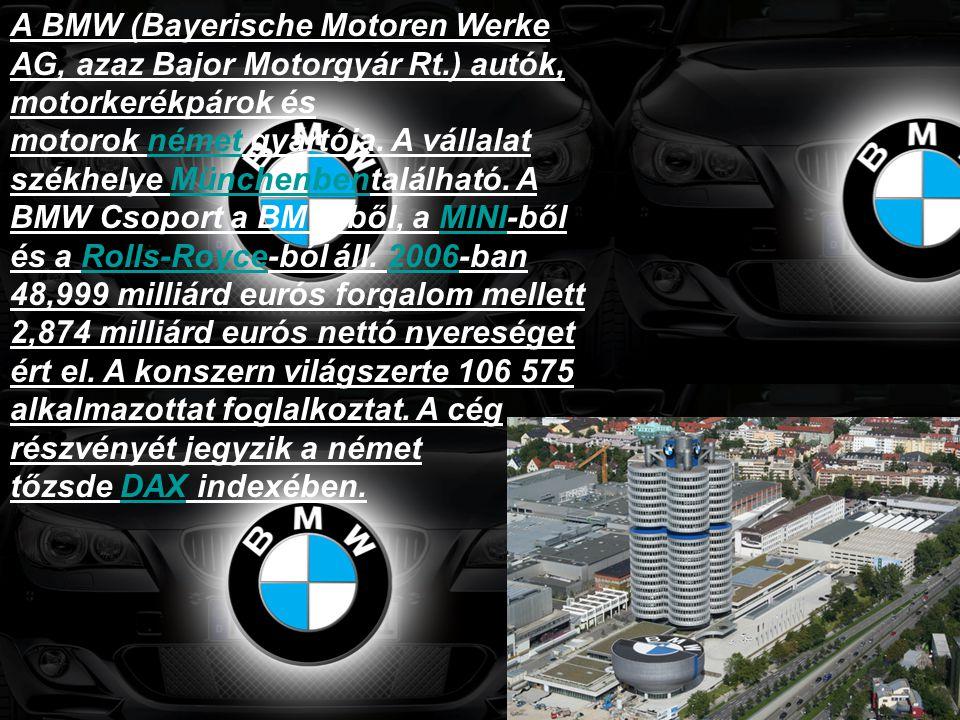 A BMW (Bayerische Motoren Werke AG, azaz Bajor Motorgyár Rt