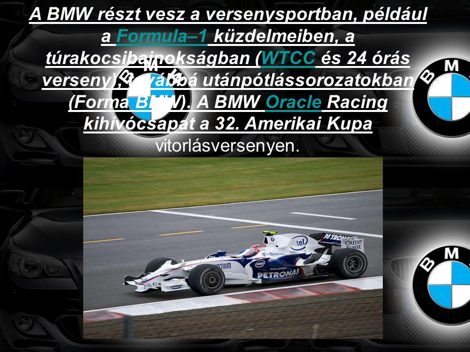 A BMW részt vesz a versenysportban, például a Formula–1 küzdelmeiben, a túrakocsibajnokságban (WTCC és 24 órás verseny), továbbá utánpótlássorozatokban (Forma BMW).
