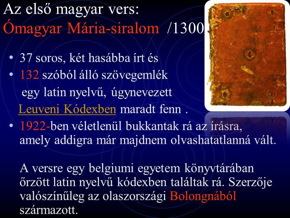 Az első magyar vers: Ómagyar Mária-siralom /1300