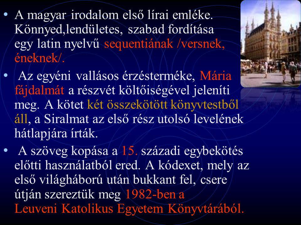 A magyar irodalom első lírai emléke