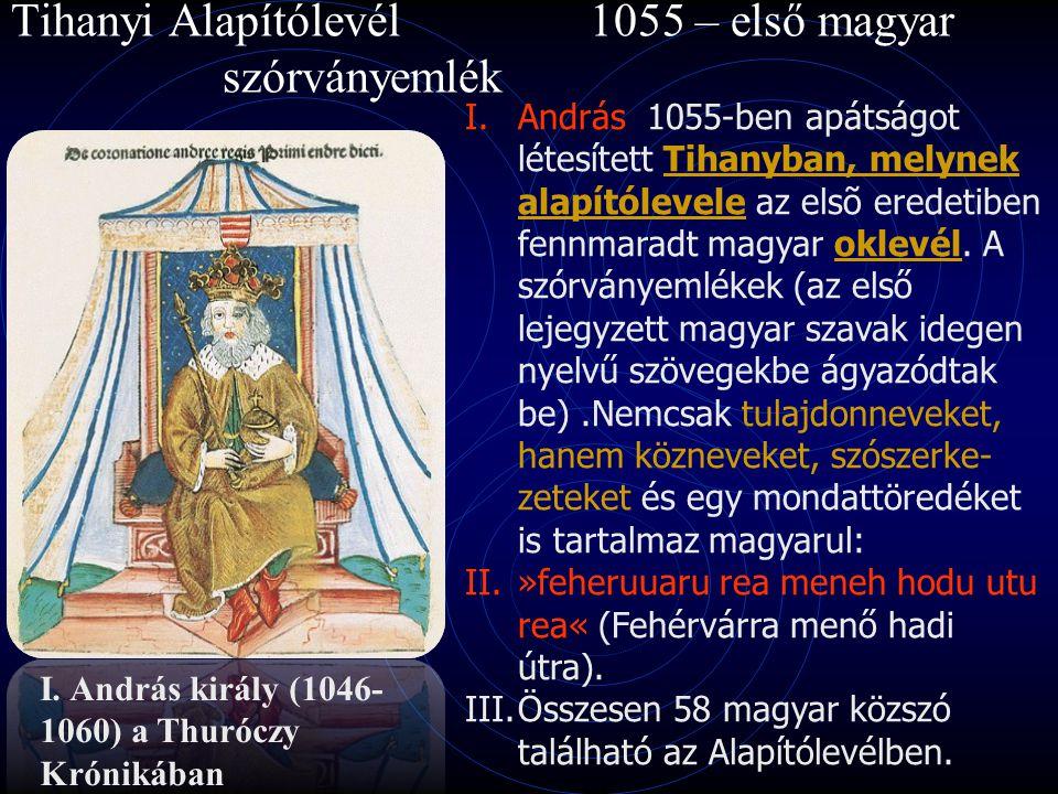 Tihanyi Alapítólevél 1055 – első magyar szórványemlék