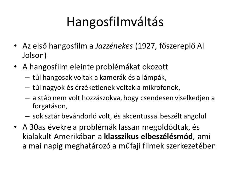 Hangosfilmváltás Az első hangosfilm a Jazzénekes (1927, főszereplő Al Jolson) A hangosfilm eleinte problémákat okozott.