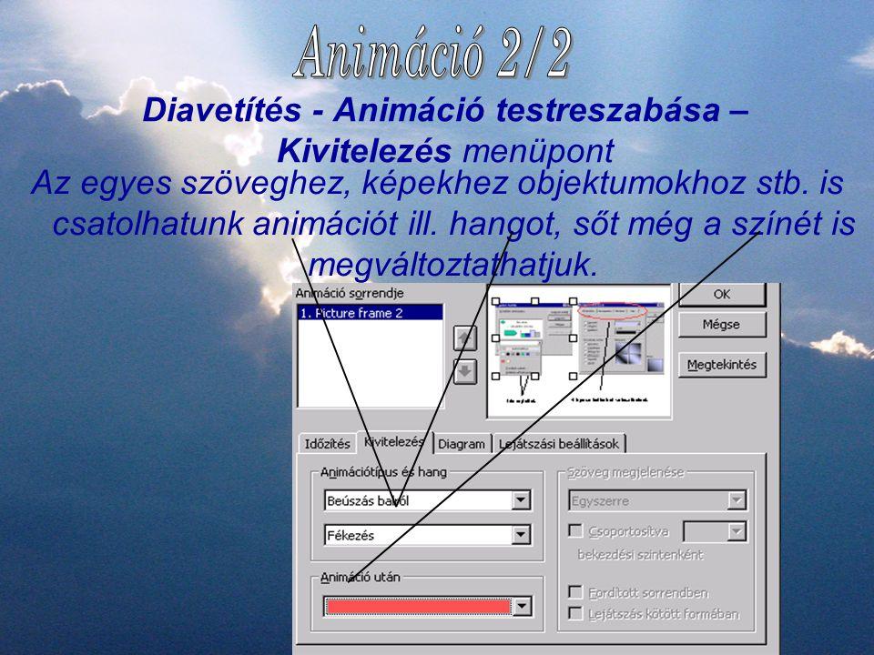 Diavetítés - Animáció testreszabása – Kivitelezés menüpont