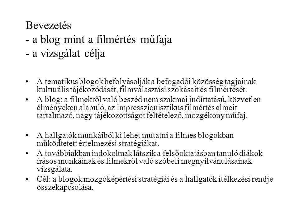Bevezetés - a blog mint a filmértés műfaja - a vizsgálat célja