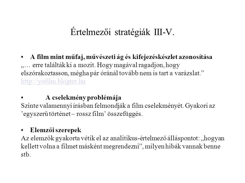 Értelmezői stratégiák III-V.