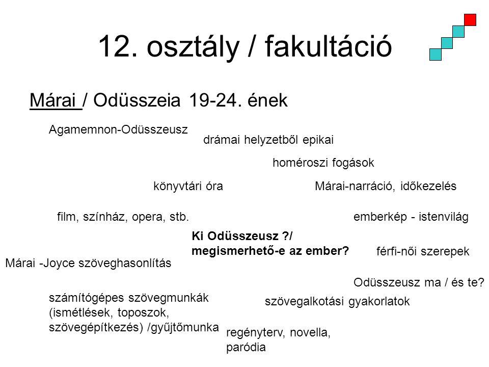 12. osztály / fakultáció Márai / Odüsszeia 19-24. ének