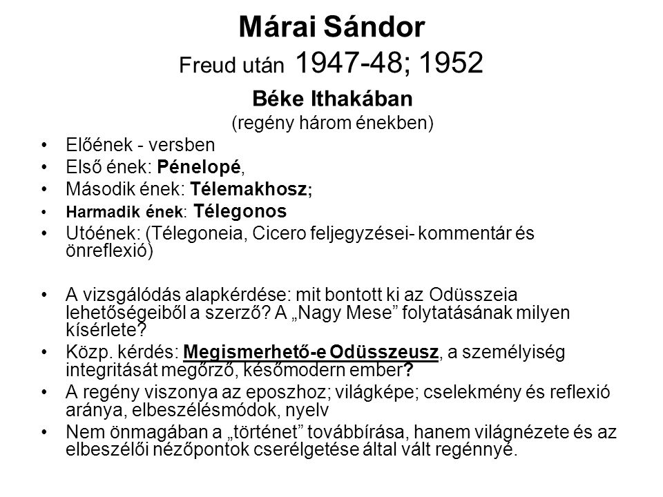 Márai Sándor Freud után 1947-48; 1952