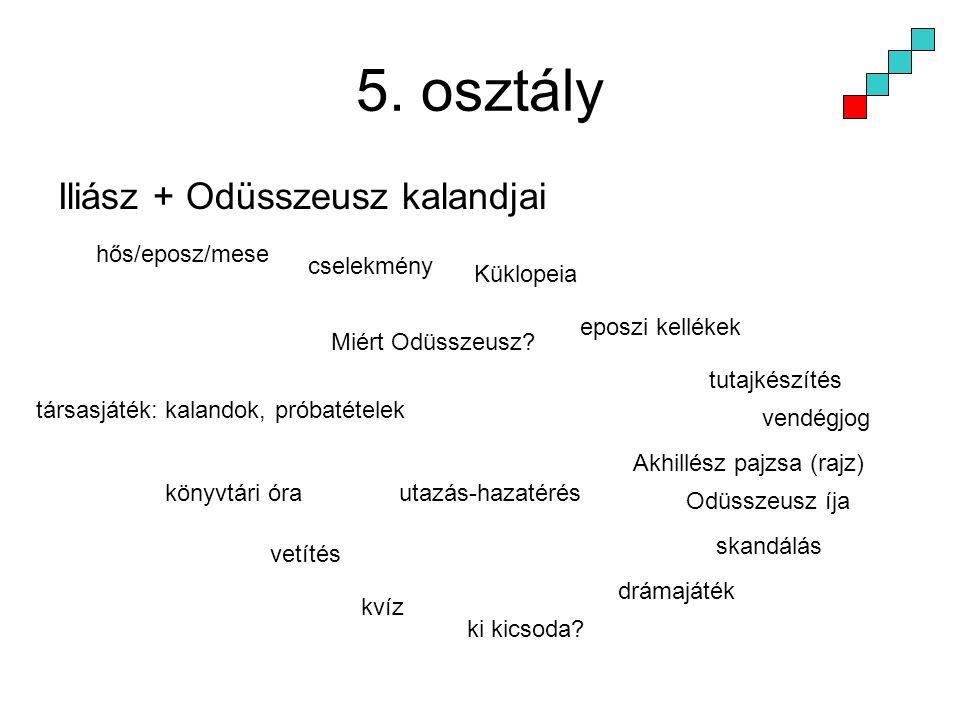 5. osztály Iliász + Odüsszeusz kalandjai hős/eposz/mese cselekmény