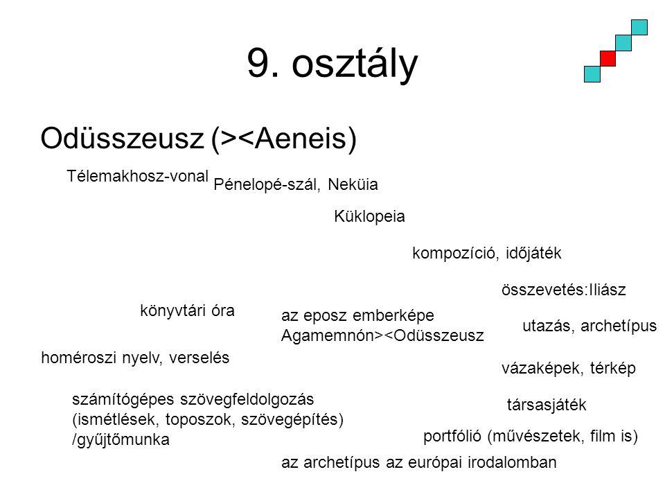 9. osztály Odüsszeusz (><Aeneis) Télemakhosz-vonal