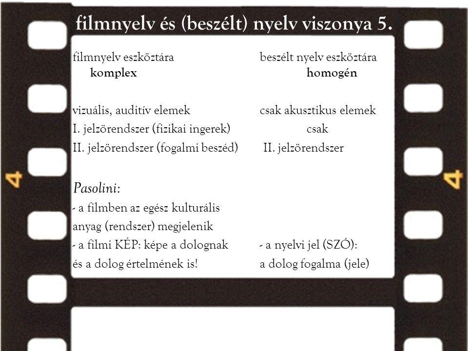 filmnyelv és (beszélt) nyelv viszonya 5.