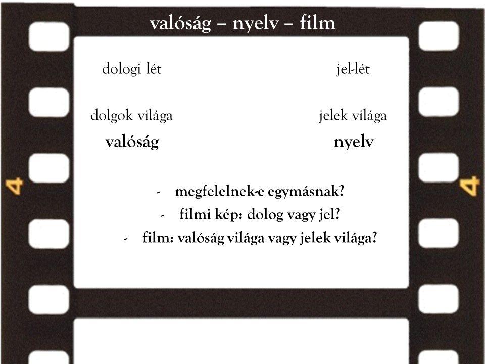 valóság – nyelv – film valóság nyelv dologi lét dolgok világa jel-lét