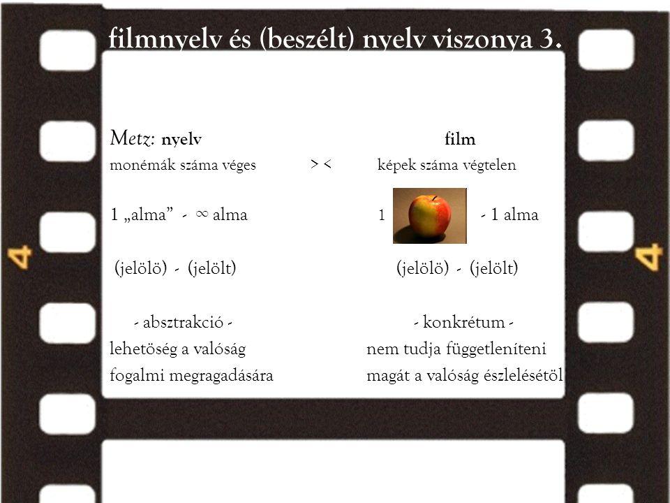 filmnyelv és (beszélt) nyelv viszonya 3.
