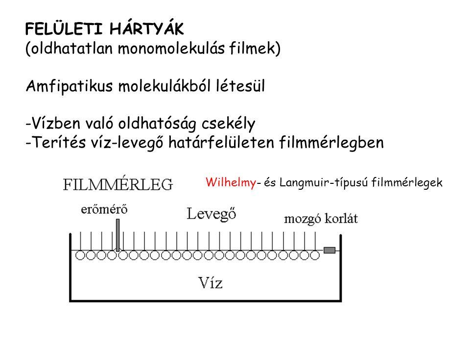 Wilhelmy- és Langmuir-típusú filmmérlegek