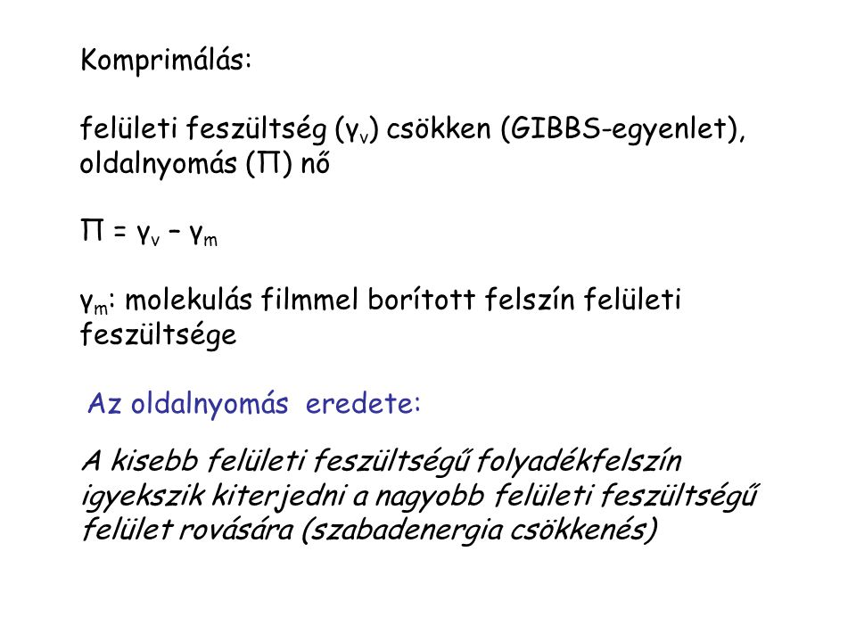 Komprimálás: felületi feszültség (γv) csökken (GIBBS-egyenlet), oldalnyomás (П) nő. П = γv – γm.