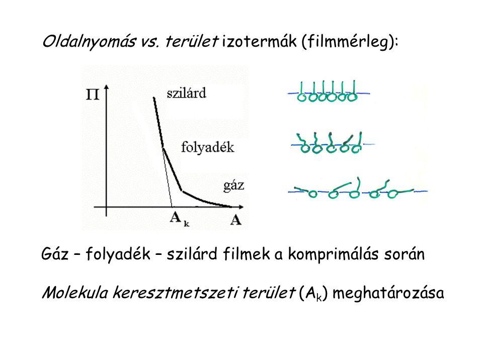 Oldalnyomás vs. terület izotermák (filmmérleg):