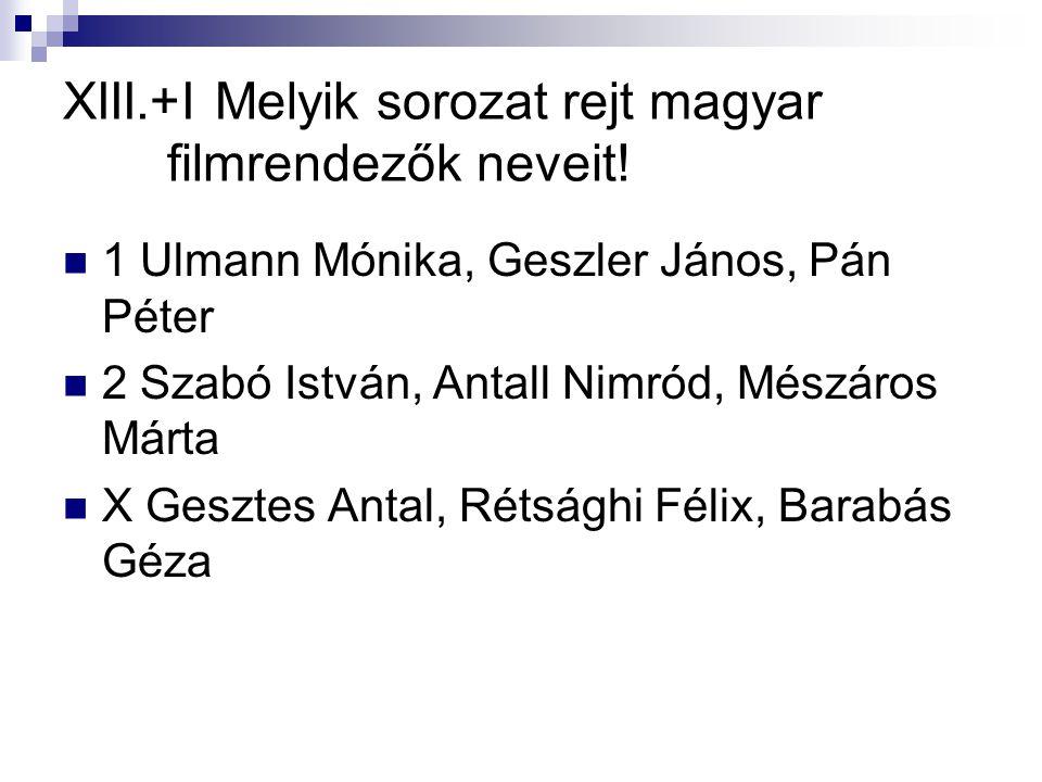 XIII.+I Melyik sorozat rejt magyar filmrendezők neveit!