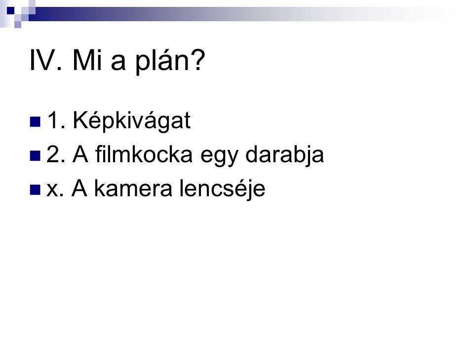 IV. Mi a plán 1. Képkivágat 2. A filmkocka egy darabja