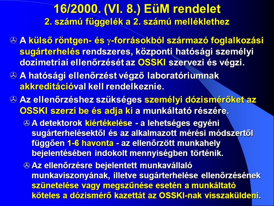 16/2000. (VI. 8. ) EüM rendelet 2. számú függelék a 2