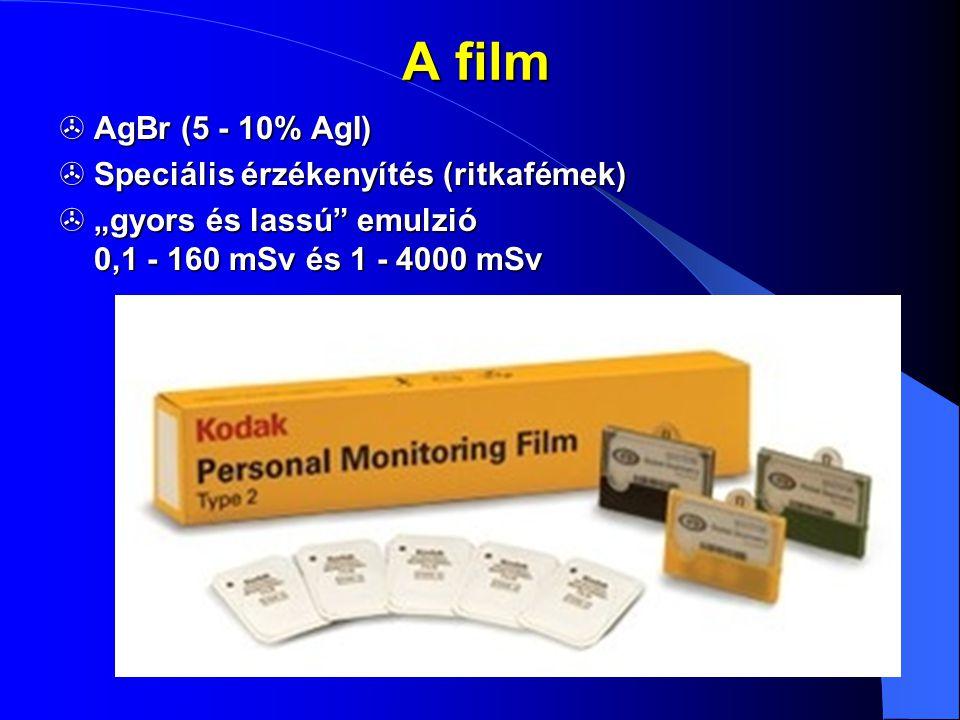 A film AgBr (5 - 10% AgI) Speciális érzékenyítés (ritkafémek)