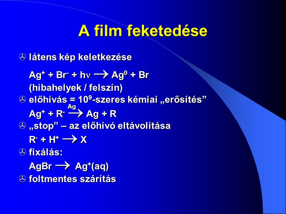 A film feketedése látens kép keletkezése Ag+ + Br- + hn  Ag0 + Br (hibahelyek / felszín)