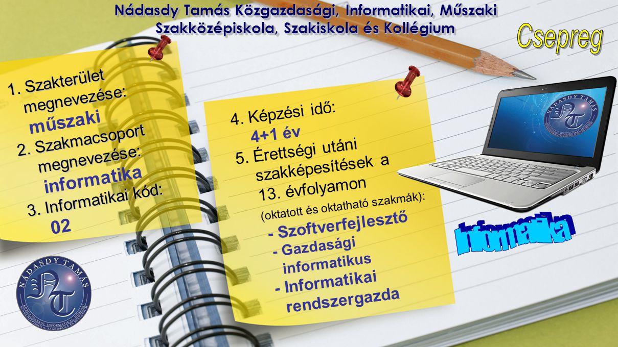 Informatika 02 1. Szakterület megnevezése: műszaki