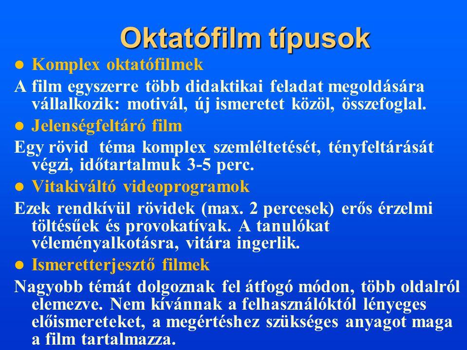Oktatófilm típusok Komplex oktatófilmek