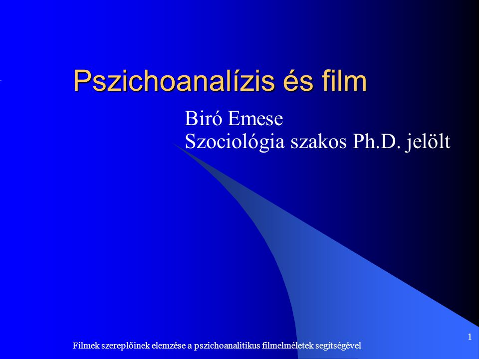 Pszichoanalízis és film