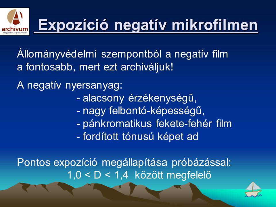 Expozíció negatív mikrofilmen