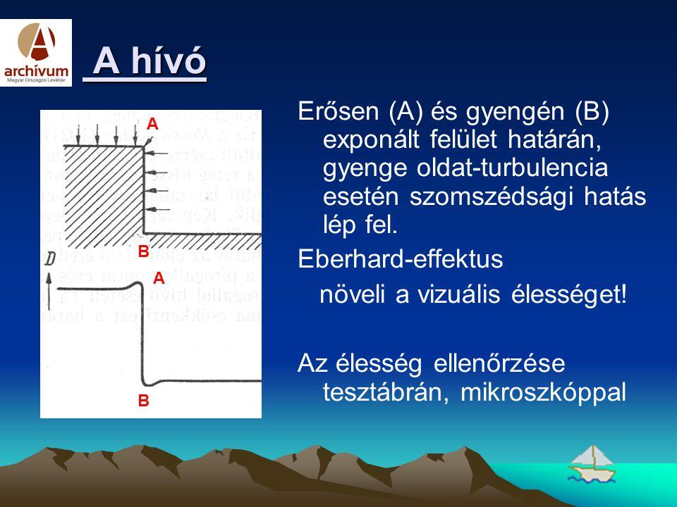 A hívó Erősen (A) és gyengén (B) exponált felület határán, gyenge oldat-turbulencia esetén szomszédsági hatás lép fel.