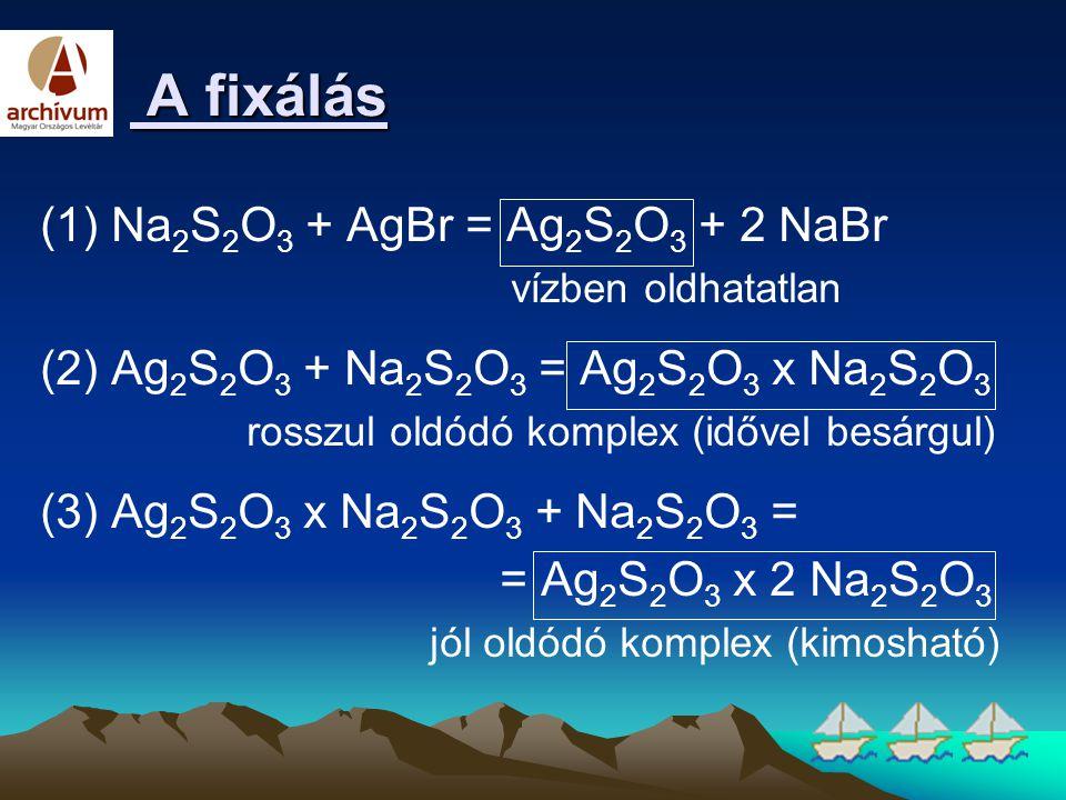 A fixálás (1) Na2S2O3 + AgBr = Ag2S2O3 + 2 NaBr