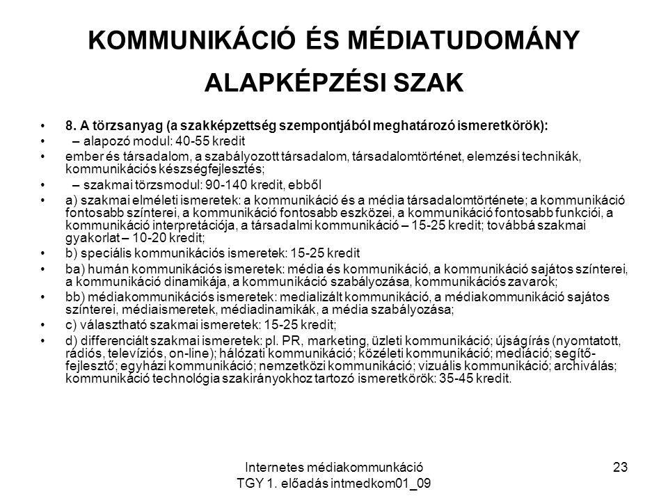 KOMMUNIKÁCIÓ ÉS MÉDIATUDOMÁNY ALAPKÉPZÉSI SZAK