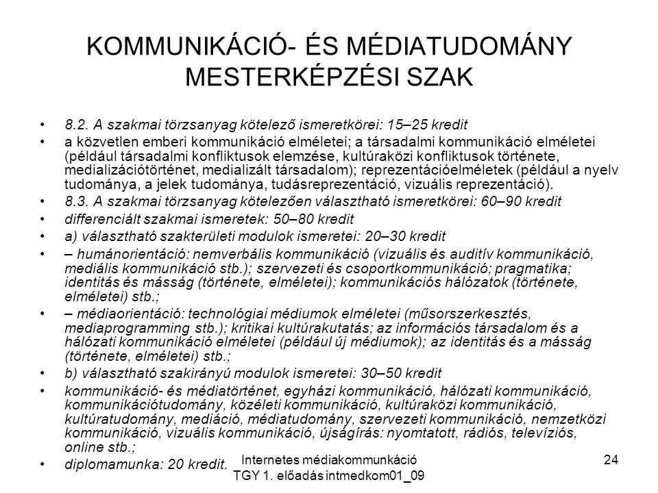KOMMUNIKÁCIÓ- ÉS MÉDIATUDOMÁNY MESTERKÉPZÉSI SZAK