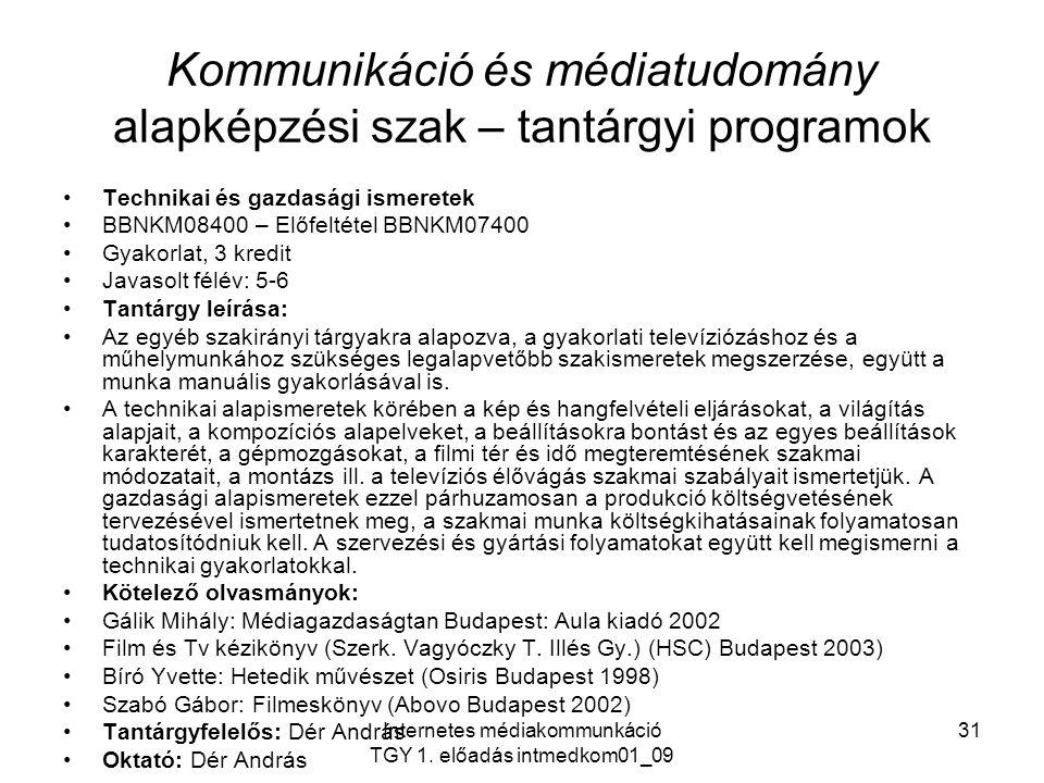 Kommunikáció és médiatudomány alapképzési szak – tantárgyi programok