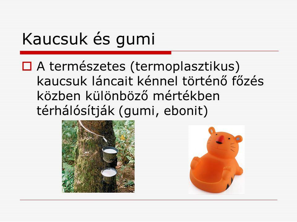 Kaucsuk és gumi A természetes (termoplasztikus) kaucsuk láncait kénnel történő főzés közben különböző mértékben térhálósítják (gumi, ebonit)