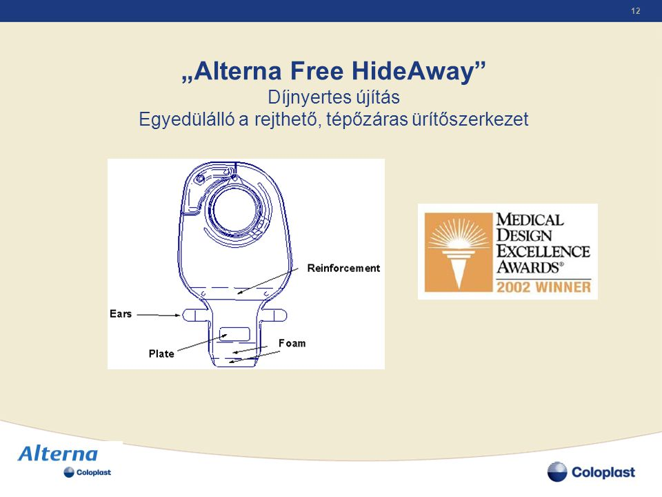 """""""Alterna Free HideAway Díjnyertes újítás Egyedülálló a rejthető, tépőzáras ürítőszerkezet"""