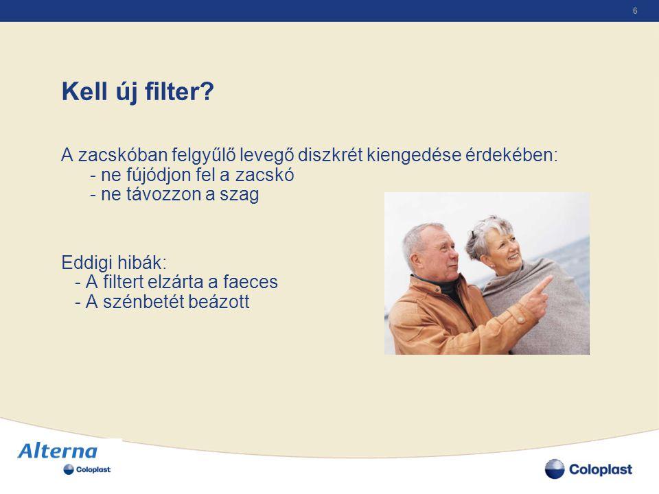 Kell új filter A zacskóban felgyűlő levegő diszkrét kiengedése érdekében: - ne fújódjon fel a zacskó - ne távozzon a szag.